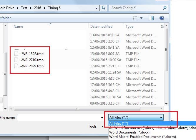 Khôi phục dữ liệu sau khi Word , Excel bị treo ứng dụng